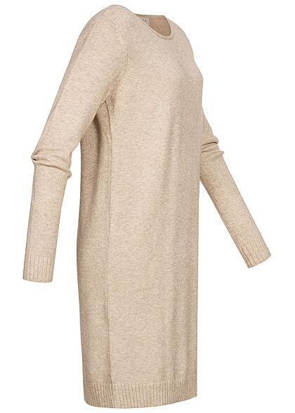 VILA Damen NOOS weiches Mini Strickkleid gerippter Saum natural beige