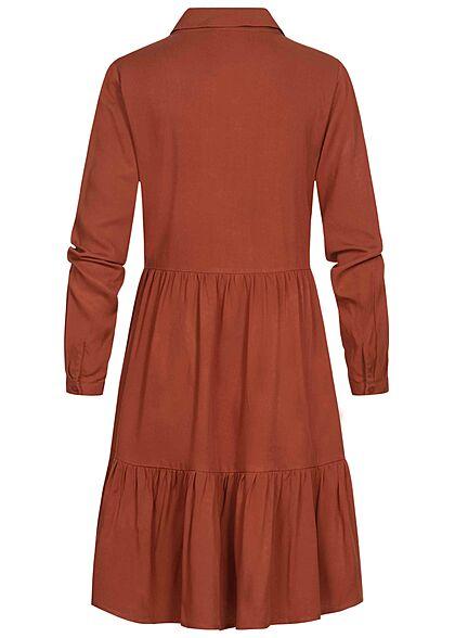 VILA Damen NOOS Langarm Viskose Blusenhemd Kleid Knopfleiste burnt henna braun