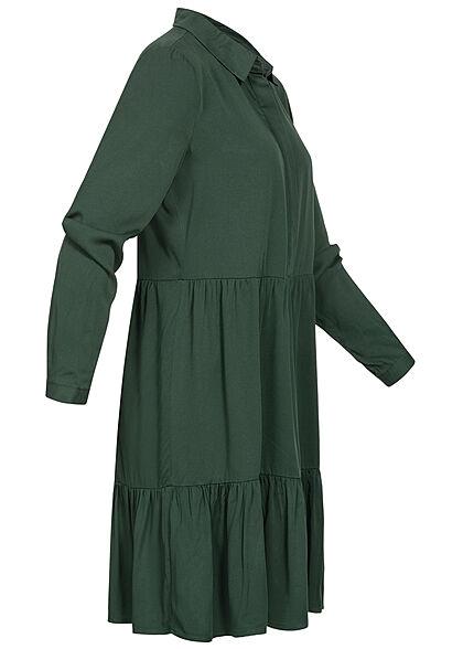 VILA Damen NOOS Langarm Viskose Blusenhemd Kleid Knopfleiste dark spruce grün