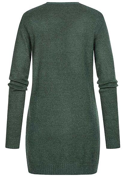 VILA Damen NOOS Longform Cardigan offener Schnitt 2-Pockets darkest spruce grün