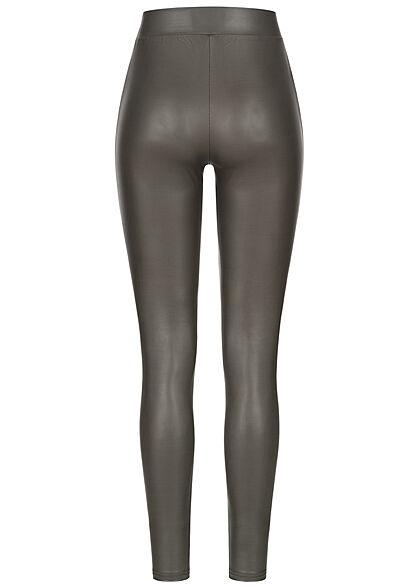 ONLY Damen NOOS Kunstleder Leggings beschichtet Gummibund beluga dunkel grau braun