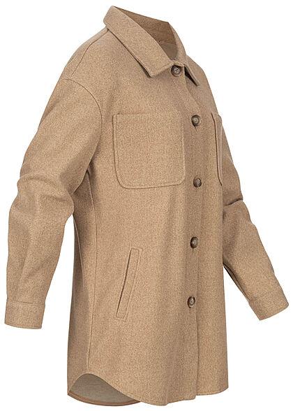 VILA Damen NOOS Oversized Hemdjacke 4-Pockets Knopfleiste tigers eye braun