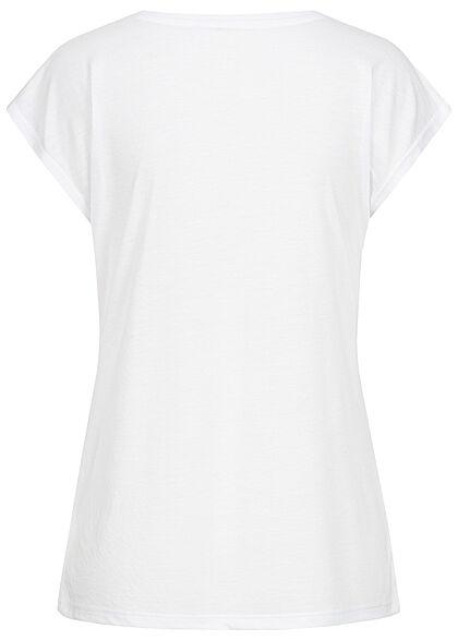 Hailys Damen T-Shirt Enjoy Life Pailletten Frontprint weiss