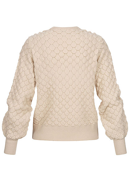 ONLY Damen NOOS Struktur Strickpullover Sweater mit Ballonärmeln pumice beige
