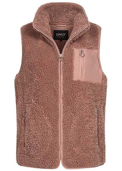 ONLY Damen Teddyfell Weste mit Stehkragen 3-Pockets burlwood dunkel rosa