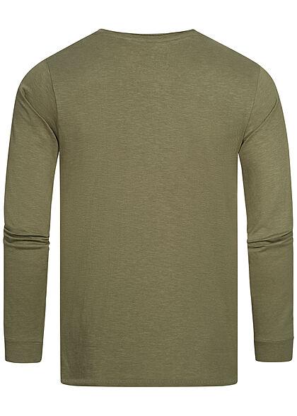 Eight2Nine Herren Longsleeve leichter Pullover mit Brusttasche ivy oliv grün