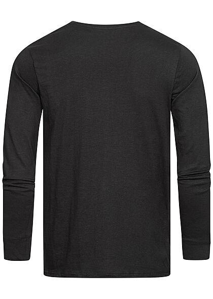 Eight2Nine Herren Longsleeve leichter Pullover mit Brusttasche schwarz