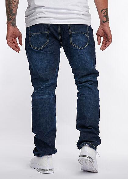 Eight2Nine Herren Jeans Hose 5-Pockets Crash Optik Knopfleiste dunkel blau denim