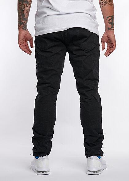 Eight2Nine Herren Skinny Fit Jeans Hose 5-Pockets Knopfleiste schwarz denim