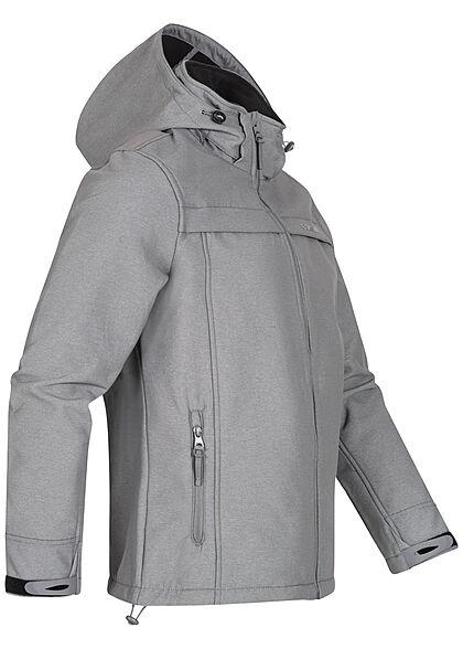 Eight2Nine Herren Softshell Jacke mit Kapuze 2-Pockets Tunnelzug am Saum grau schwarz