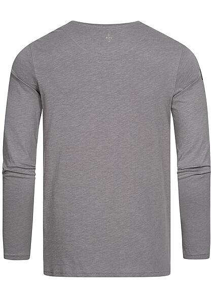 Eight2Nine Herren Longsleeve leichter Basic Pullover ash grau