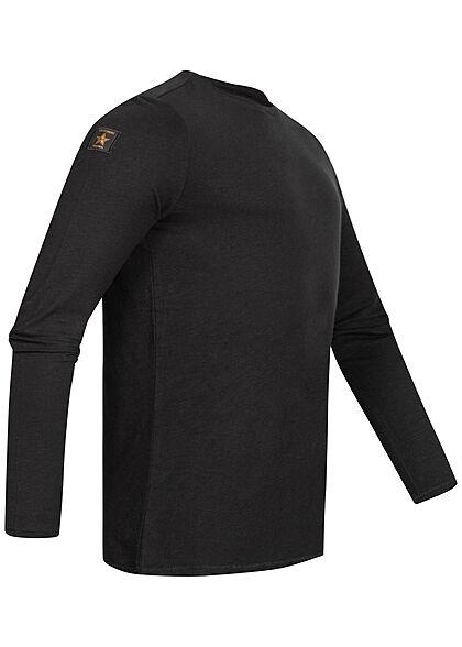 Eight2Nine Herren Longsleeve leichter Basic Pullover schwarz