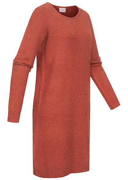 VILA Damen NOOS weiches Mini Strickkleid gerippter Saum burnt henna braun