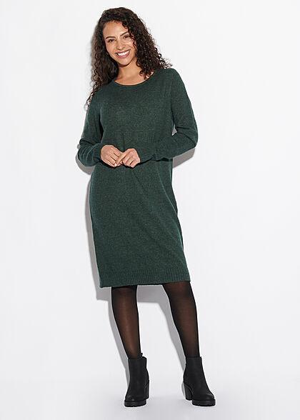 VILA Damen NOOS weiches Mini Strickkleid gerippter Saum darkest spruce dunkel grün