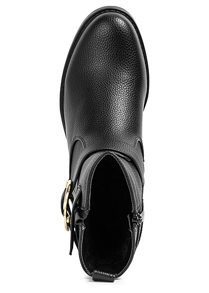 Seventyseven Lifestyle Damen Schuh Kunstleder Stiefelette Riemchenschnalle schwarz gold