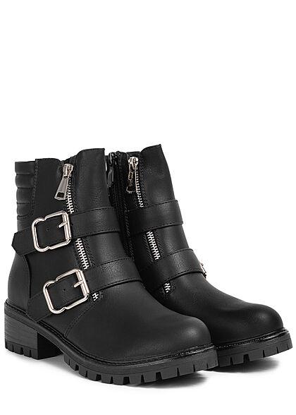 Seventyseven Lifestyle Damen Schuh Kunstleder Worker Boots 2 Zipper & Schnallen schwarz