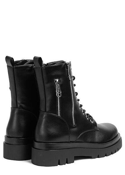 Seventyseven Lifestyle Damen Schuh Kunstleder Halbstiefel zum schnüren schwarz