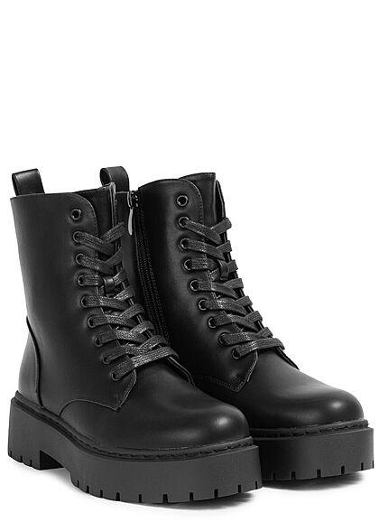 Seventyseven Lifestyle Damen Schuh Kunstleder Plateau Schnürrstiefel Zipper schwarz