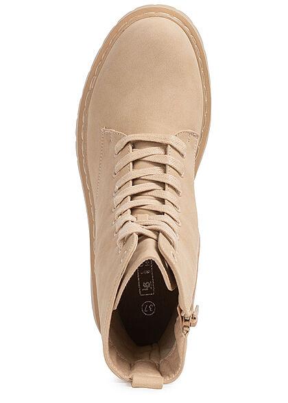 Seventyseven Lifestyle Damen Schuh Kunstleder Plateau Schnürrstiefel Zipper beige
