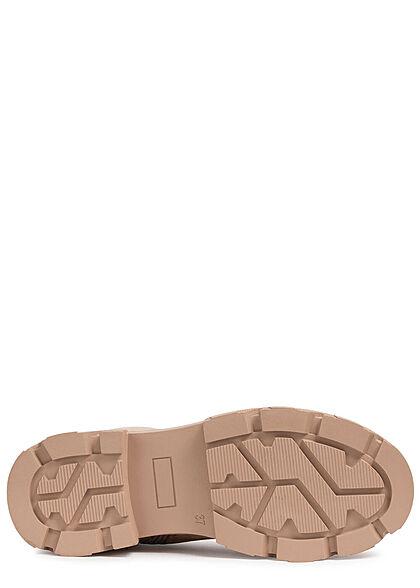 Seventyseven Lifestyle Damen Schuh Schnürrstiefel in Velour Optik Zipper khaki