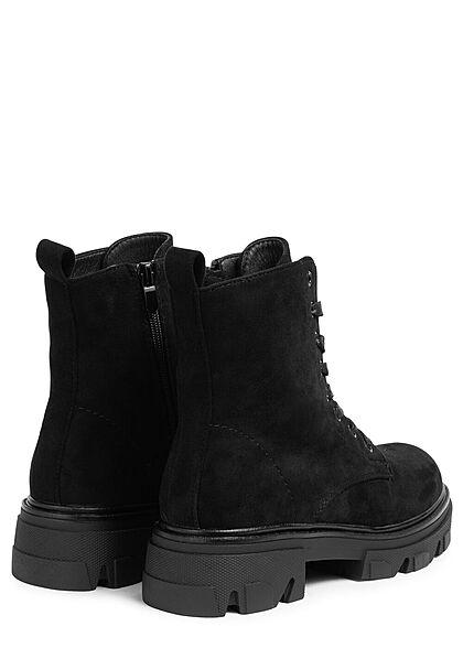 Seventyseven Lifestyle Damen Schuh Schnürrstiefel in Velour Optik Zipper schwarz