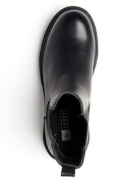 Seventyseven Lifestyle Damen Schuh Kunstleder Worker Boots m. elastischem Band schwarz