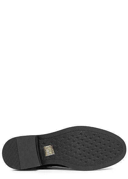 Seventyseven Lifestyle Damen Schuh Kunstleder Stiefelette Zipper schwarz gold
