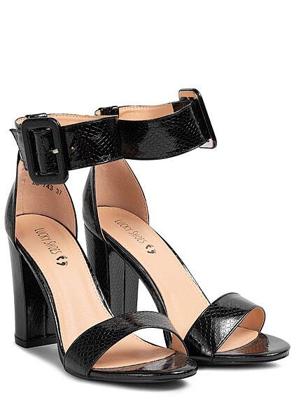 Seventyseven Lifestyle Damen Schuh High-Heel Sandalette Snake Look Riemen schwarz