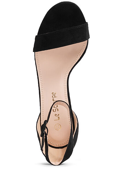 Seventyseven Lifestyle Damen Schuh High-Heel Sandalette Kunstleder Velouroptik schwarz