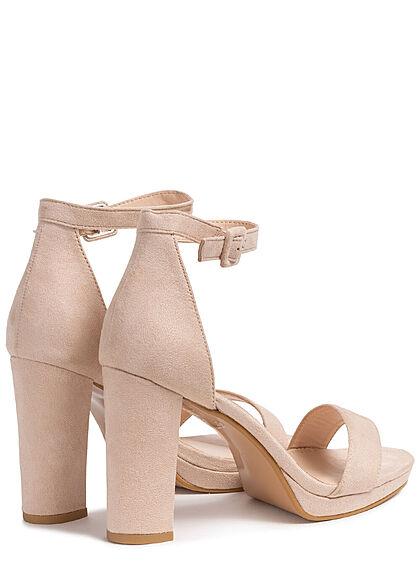 Seventyseven Lifestyle Damen Schuh High-Heel Sandalette Kunstleder Velouroptik beige