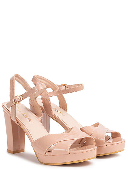 Seventyseven Lifestyle Damen Schuh High-Heel Sandalette Kunstleder Lackoptik nude rosa