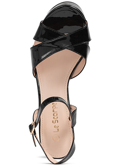 Seventyseven Lifestyle Damen Schuh High-Heel Sandalette Kunstleder Lackoptik schwarz