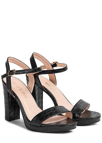 Seventyseven Lifestyle Damen Schuh High-Heel Sandalette Snake Look schwarz