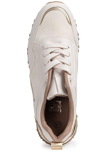 Seventyseven Lifestyle Damen Schuh 2-Tone Sneaker Material- Mix zum schnüren beige gold