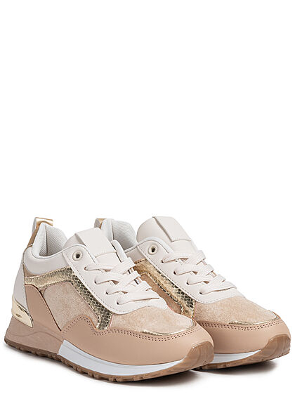 Seventyseven Lifestyle Damen Schuh 2-Tone Sneaker Material- Mix zum schnüren khaki gold