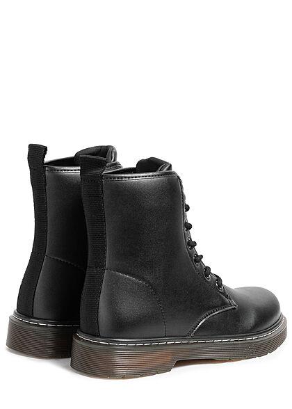 Seventyseven Lifestyle Damen Schuh leichte Worker Boots zum schnüren schwarz