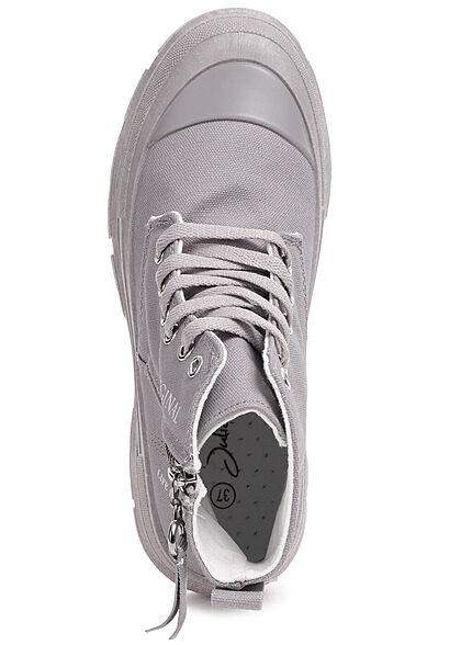 Seventyseven Lifestyle Damen Schuh Canvas Worker Boots Zipper seitlich grau