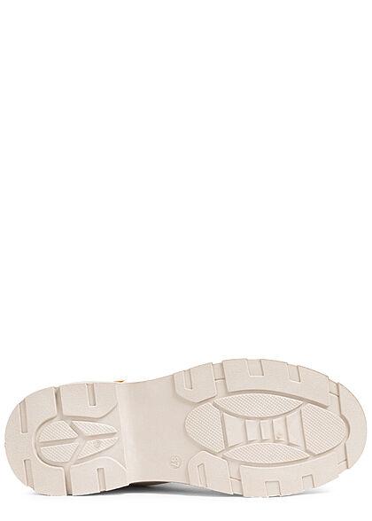 Seventyseven Lifestyle Damen Schuh Canvas Worker Boots Zipper seitlich beige