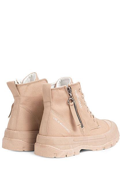 Seventyseven Lifestyle Damen Schuh Canvas Worker Boots Zipper seitlich khaki