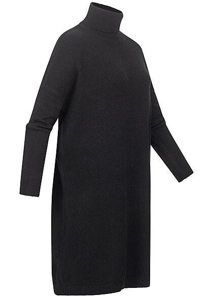 VILA Damen NOOS Rollkragen Longform Strickpullover Kleid schwarz