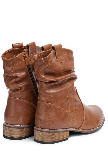 Seventyseven Lifestyle Damen Schuh Kunstleder Halbstiefel m. Raffung & Zipper camel
