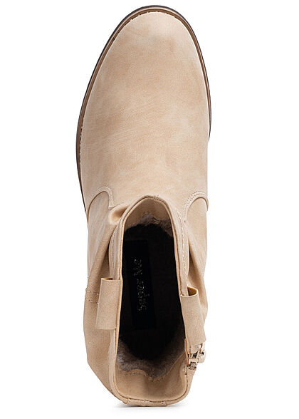 Seventyseven Lifestyle Damen Schuh Kunstleder Halbstiefel m. Raffung & Zipper beige