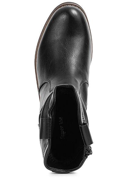 Seventyseven Lifestyle Damen Schuh Kunstleder Halbstiefel m. Raffung & Zipper schwarz