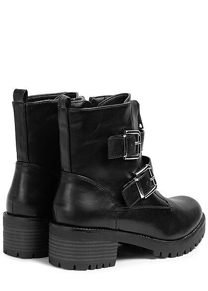 Seventyseven Lifestyle Damen Schuh Halbstiefelette 2 Zipper 2 Deko Schnallen schwarz