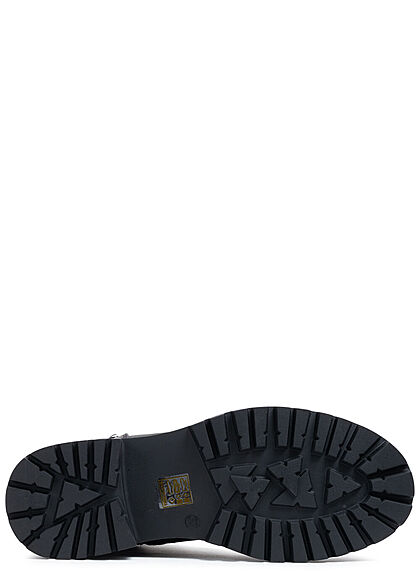 Seventyseven Lifestyle Damen Schuh Halb Schnürrstiefel mit Zipper army dunkel grün