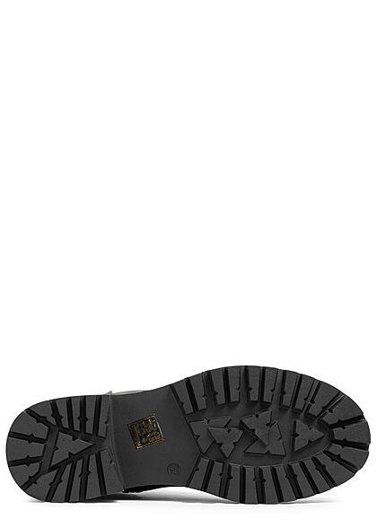 Seventyseven Lifestyle Damen Schuh Halb Schnürrstiefel mit Zipper schwarz