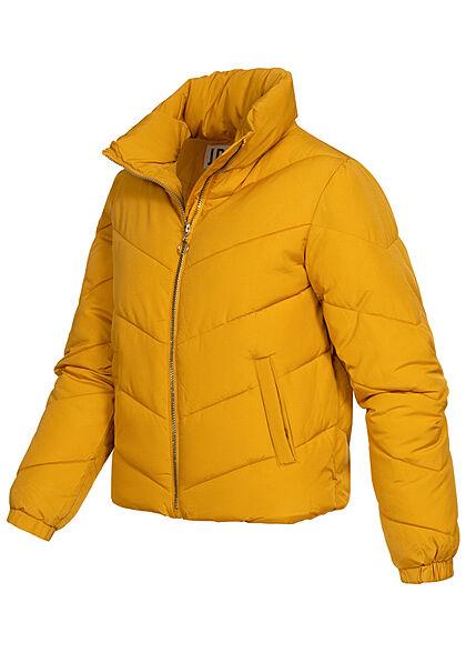 JDY by ONLY Damen kurze Steppjacke mit Stehkragen 2-Pockets harvest gold gelb
