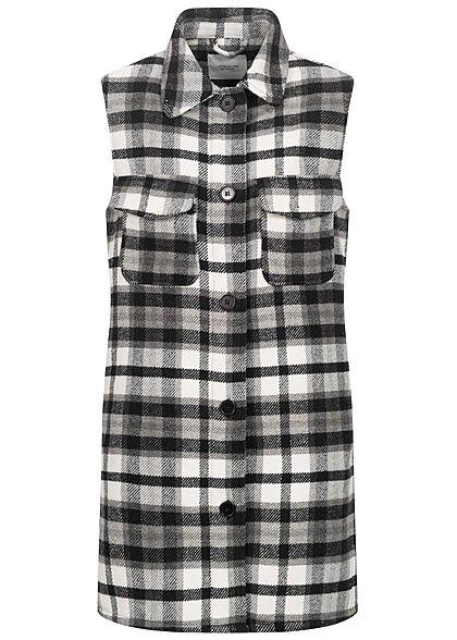 JDY by ONLY Damen Longform Hemdweste mit Knopfleiste kariert schwarz weiss