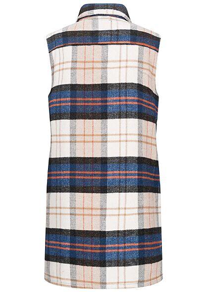 JDY by ONLY Damen Longform Hemdweste mit Knopfleiste kariert nomad beige blau rot