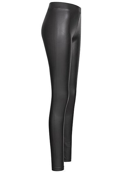 PIECES Damen NOOS Shiny Fleece Kunstleder Leggings Gummibund schwarz